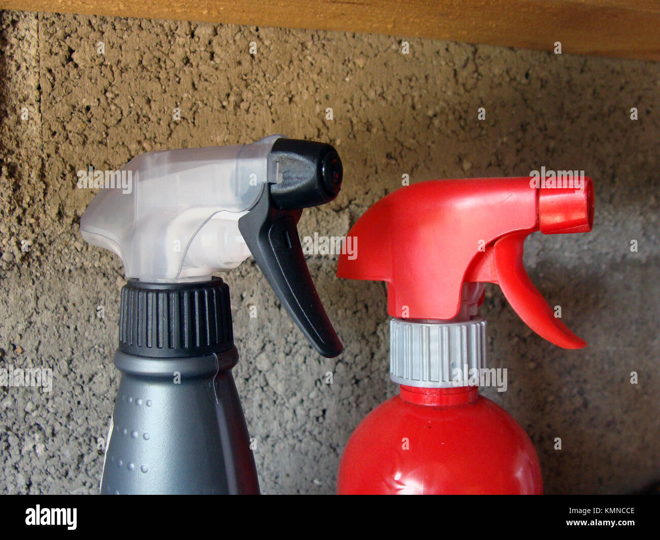 Two hand chemical sprayer heads close up - Stock Image