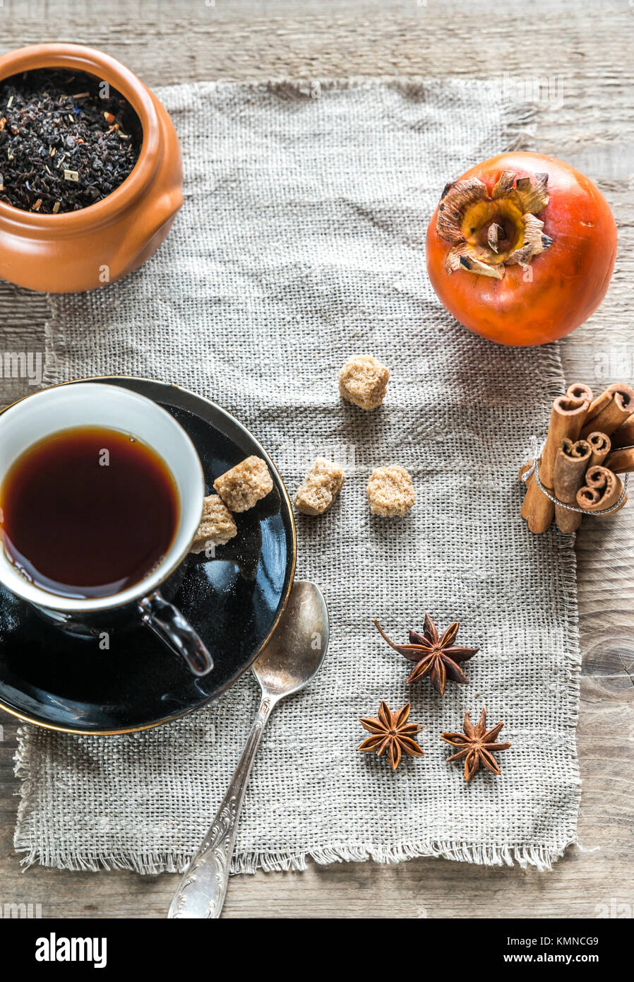 Fruit tea with spices and cookies Stock Photo