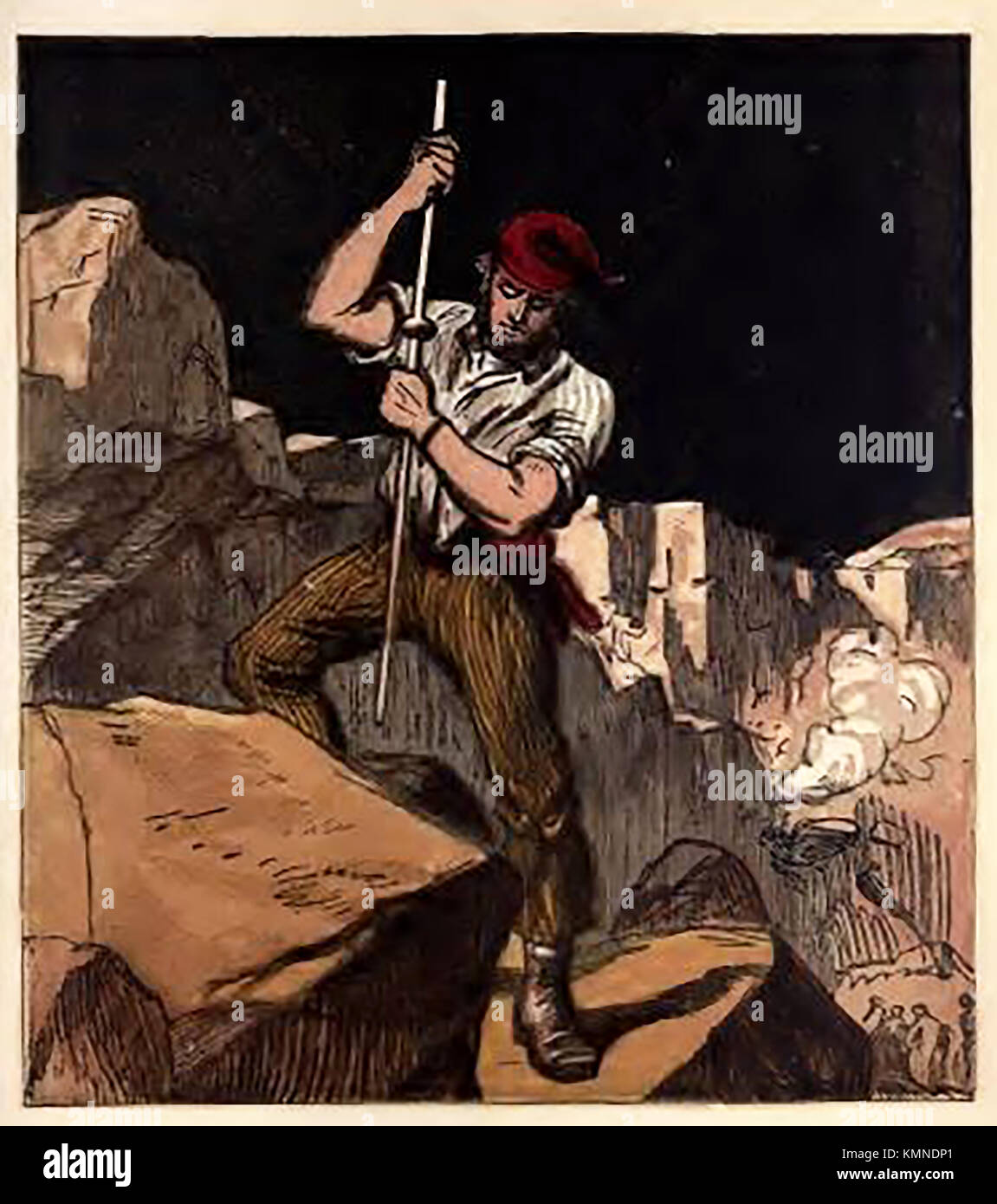 Illustration from a Victorian children's coloured book of occupations and pastimes.: - Quarryman -Stone worker - Stock Image