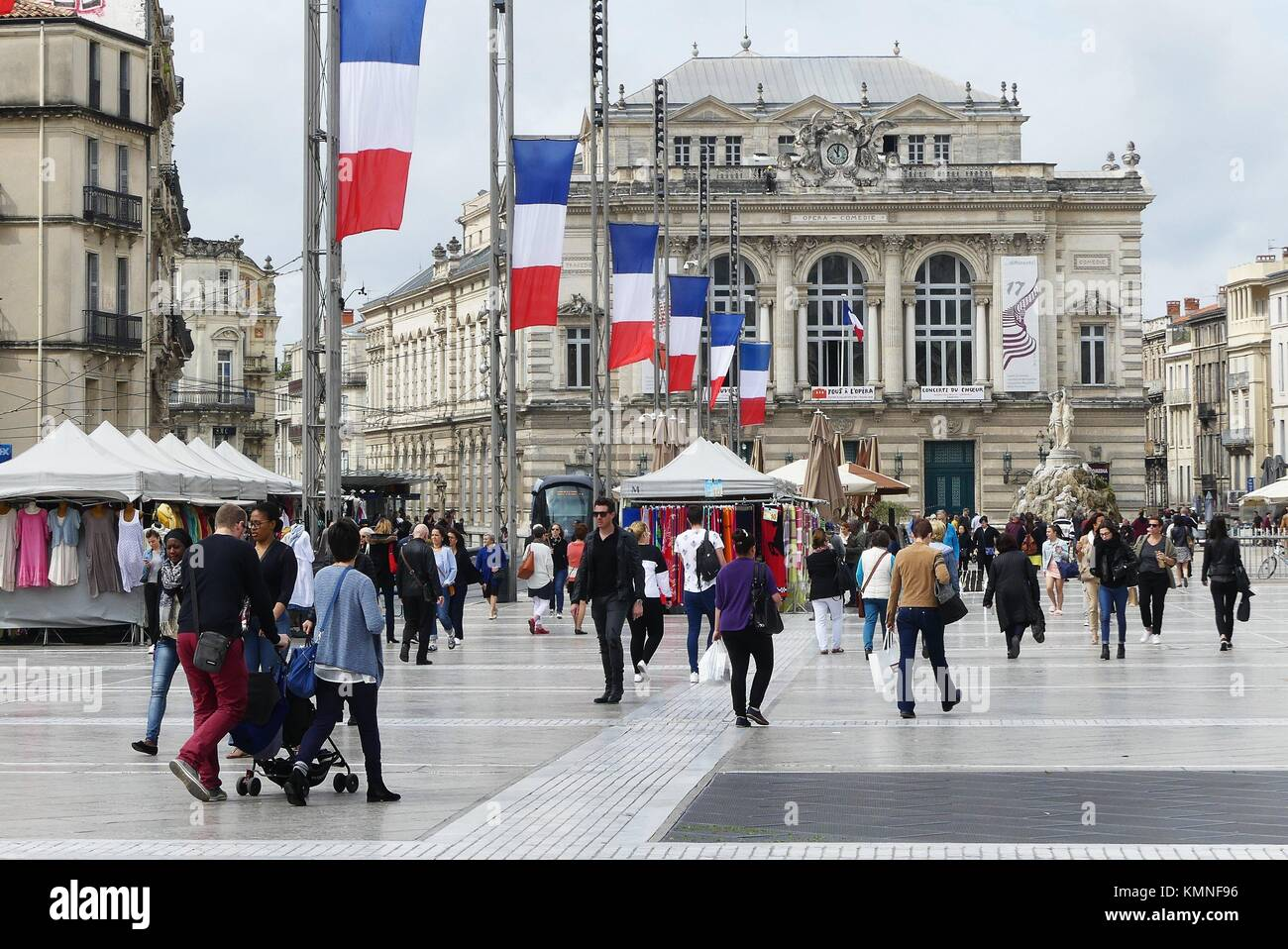 Place Comedie in Montpellier, France, is a positive example of urban renewal. - Stock Image