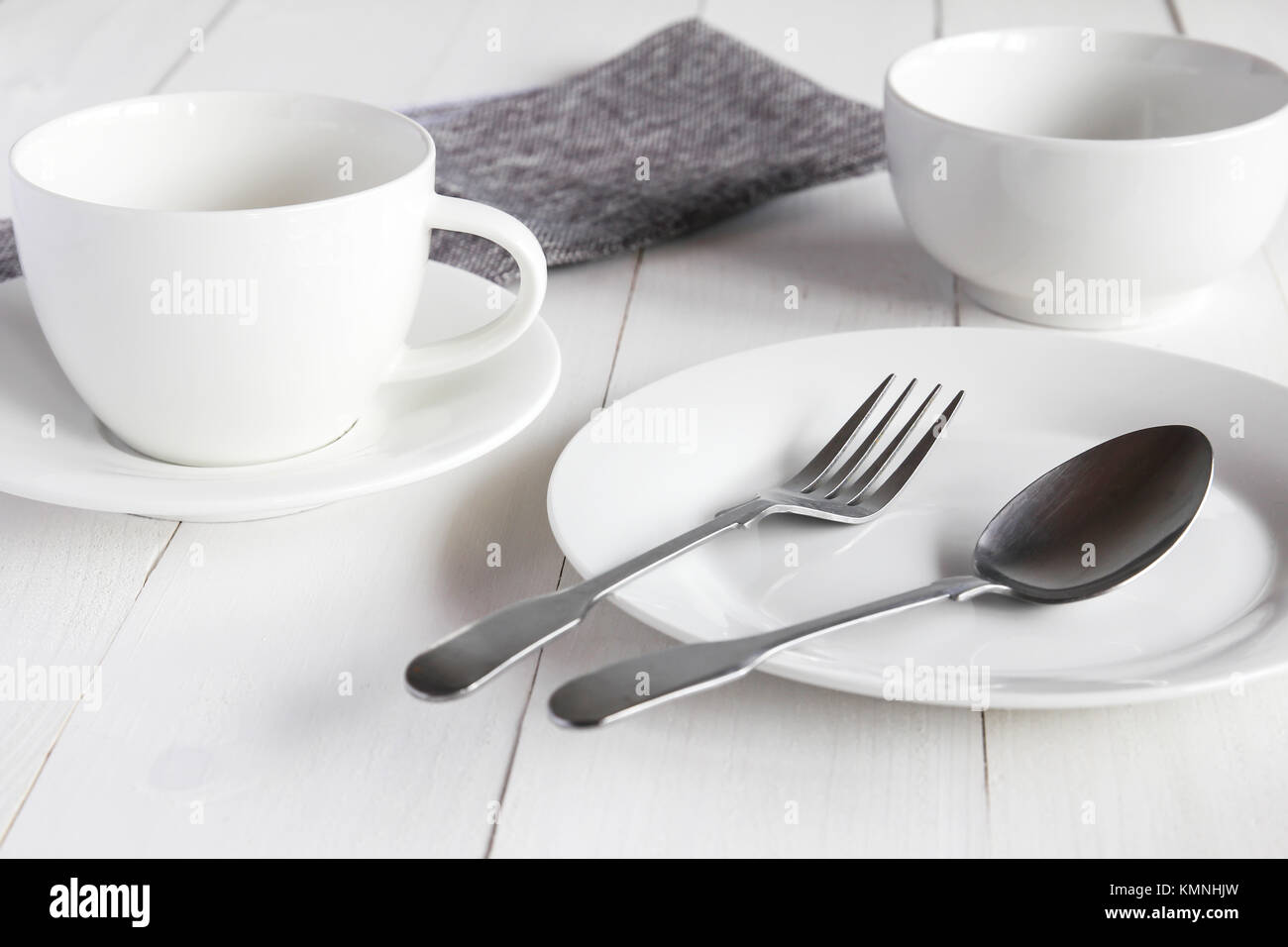 Design concept of mockup various kitchenware utensils set on white ...