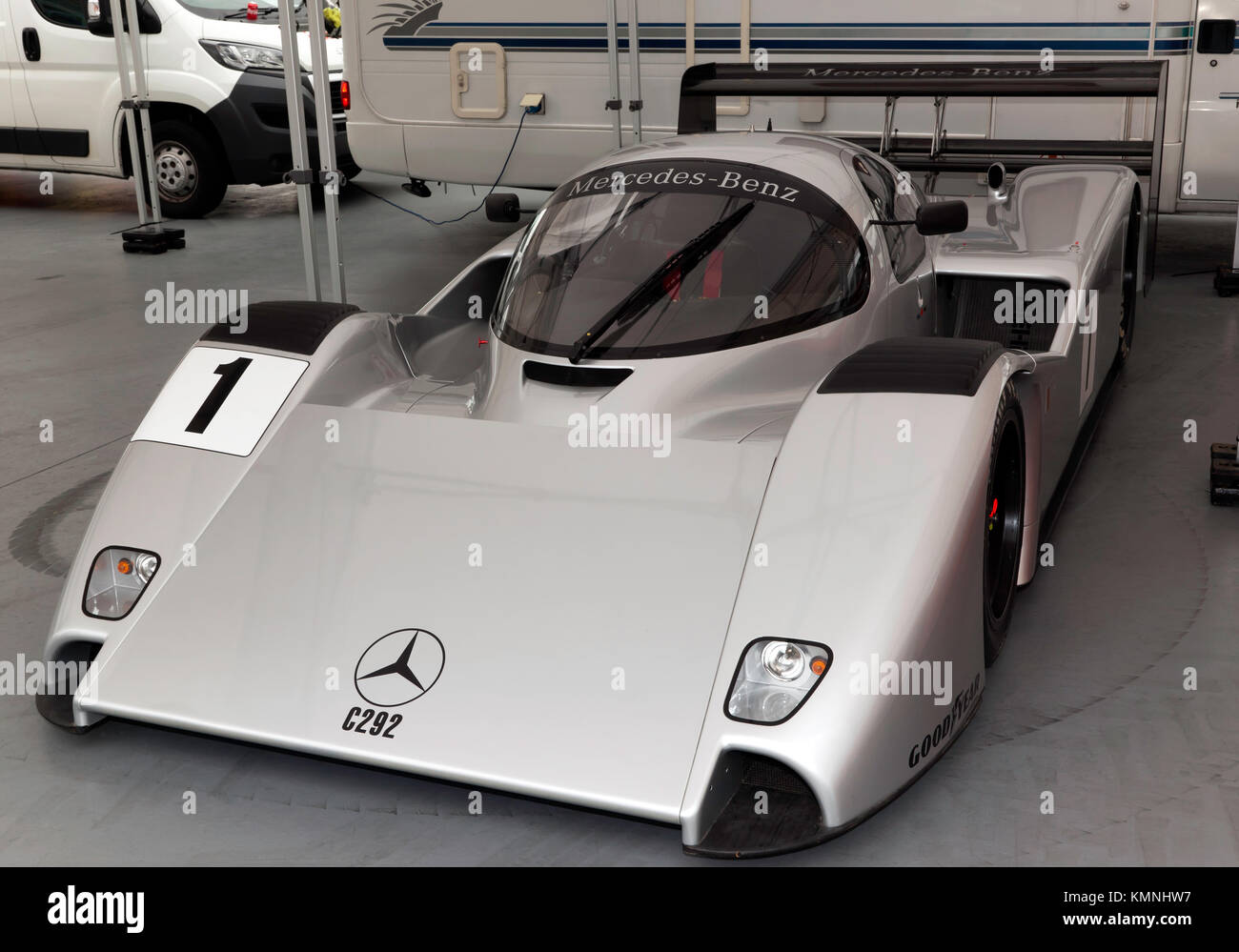 View of the Mercedes-Benz,  C292 Group C prototype race car, on display in the International Pits during the 2017 - Stock Image