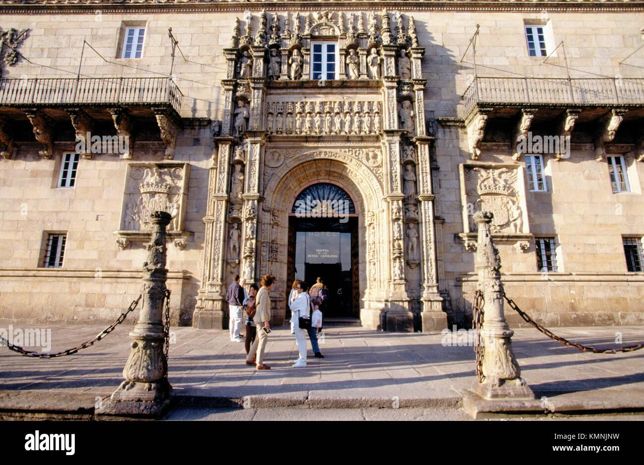Hostal de los Reyes Católicos. Santiago de Compostela. Galicia. Spain - Stock Image