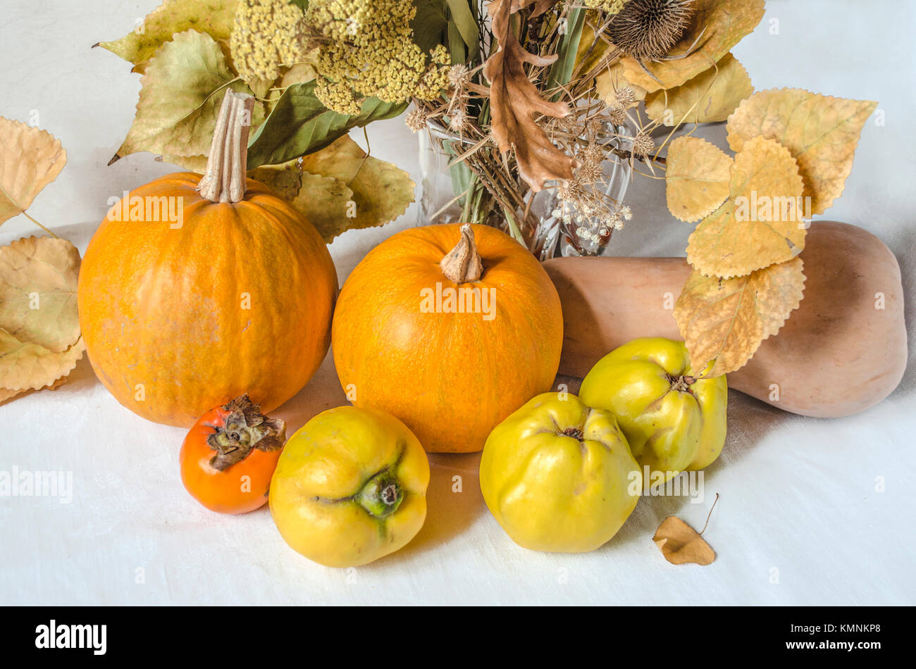 Glass vase with dry flowers and twigs of poplar with different small pumpkins, ripened quince and persimmon on a - Stock Image