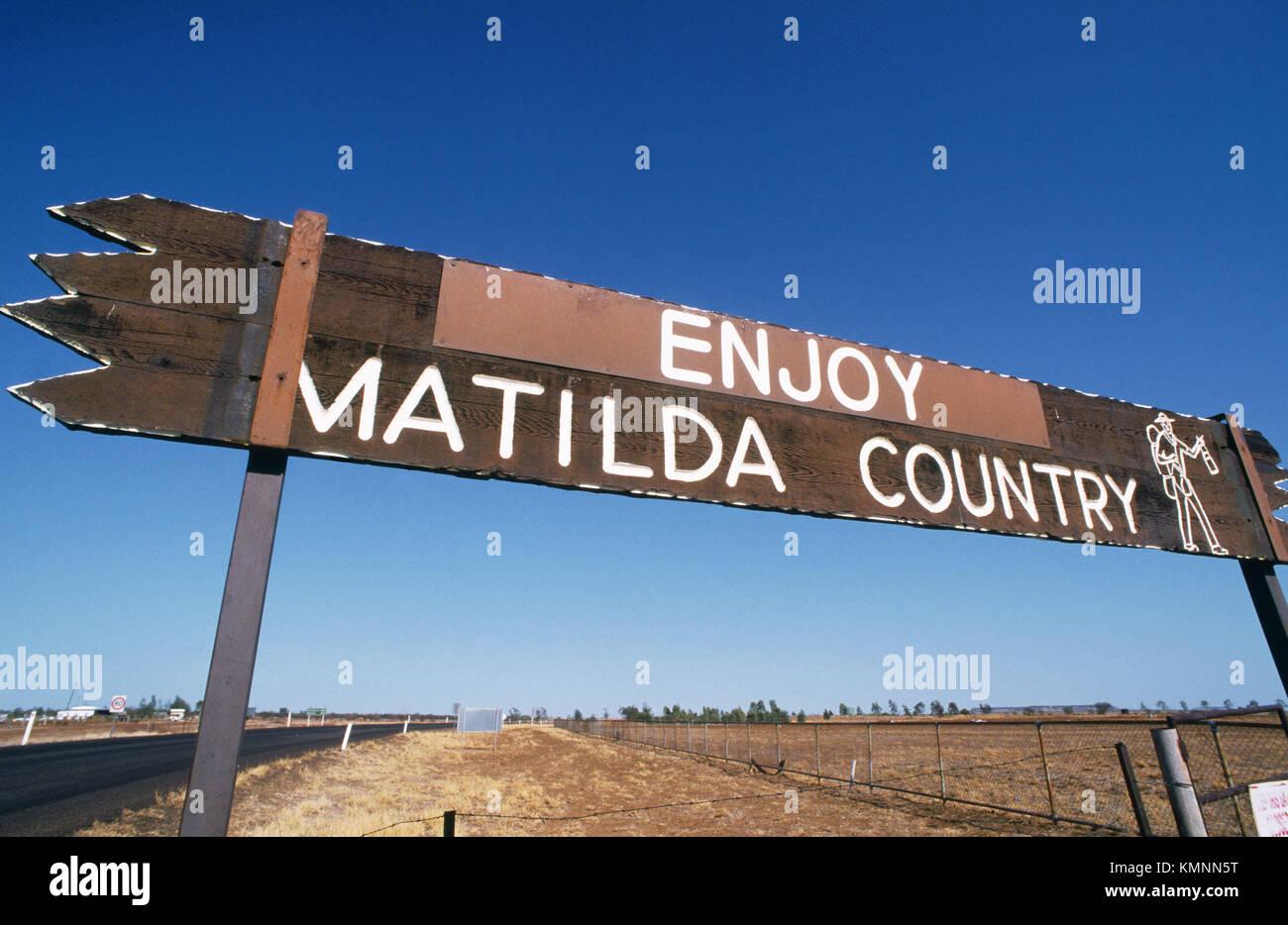 Enjoy Matilda Country sign on outskirts of Winton. Outback. Australia. - Stock Image