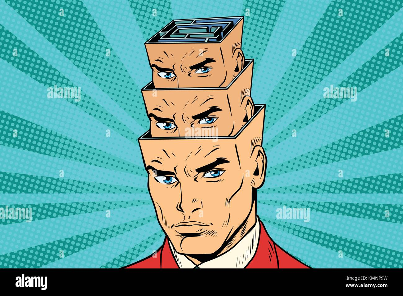 head a maze of personality inside the head. Medicine and psychology. Mental disorders. Pop art retro vector illustration - Stock Vector