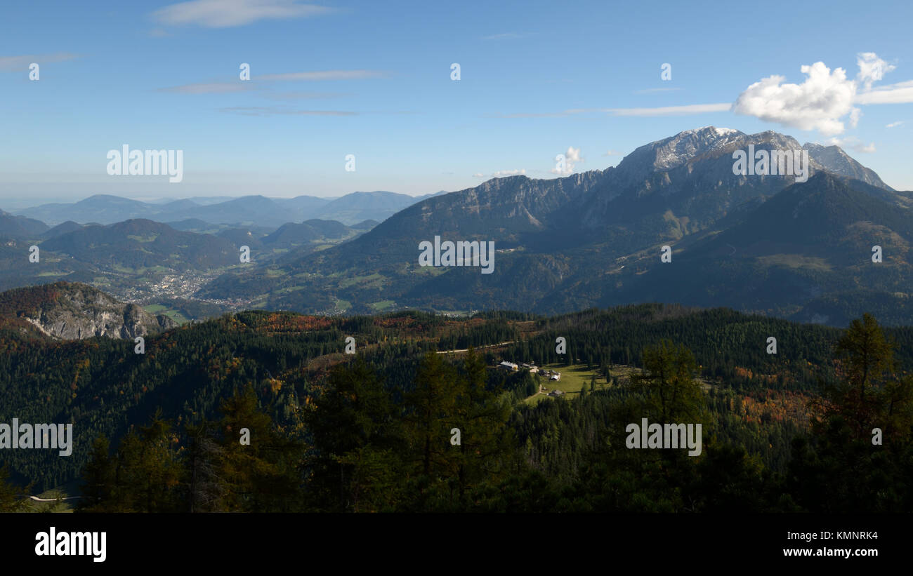 view over Kuehroint hut towards Mt. Hoher Goell and Berchtesgaden Stock Photo