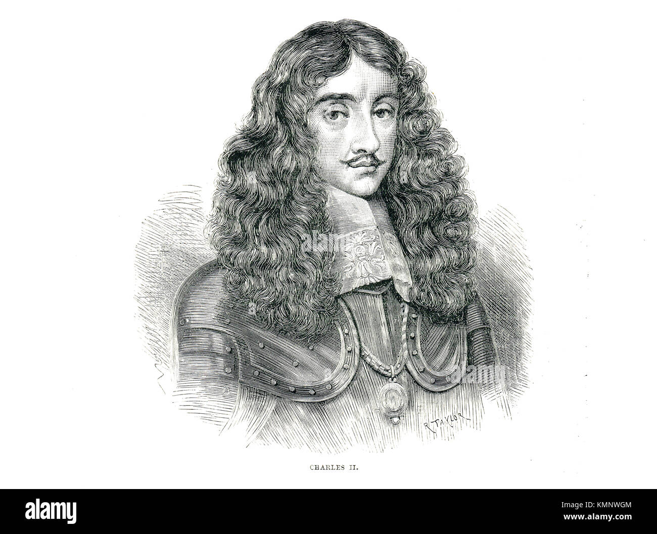 King Charles II of England (1630 –1685) reigned 1660-1685 - Stock Image