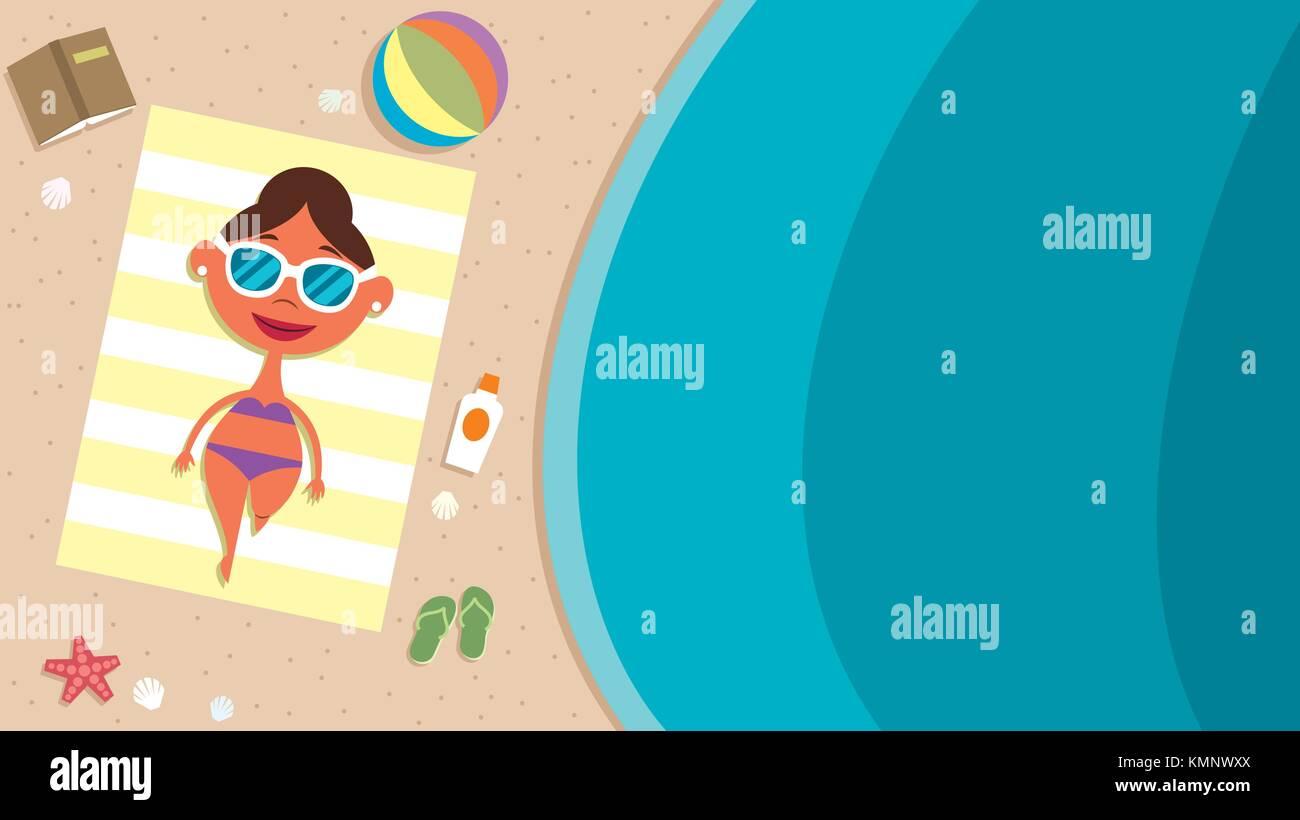 Summer Beach Girl - Stock Vector