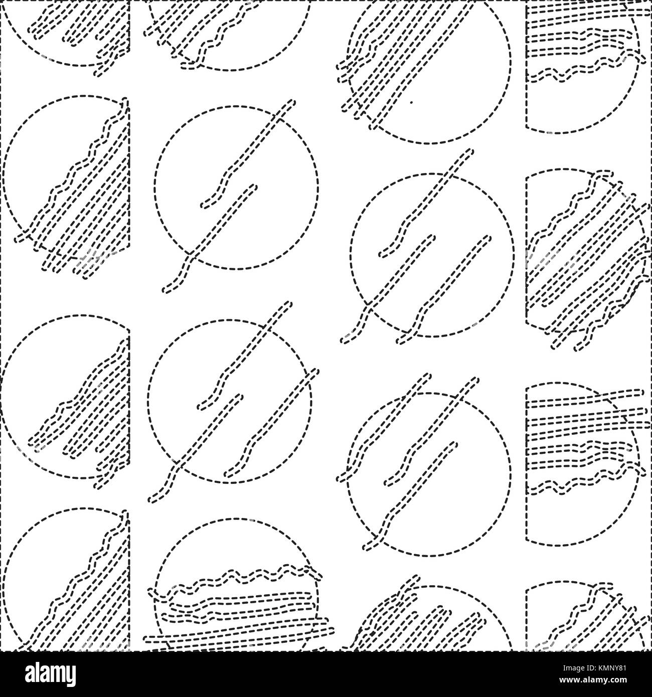dotted shape abstract circle memphis style background - Stock Image