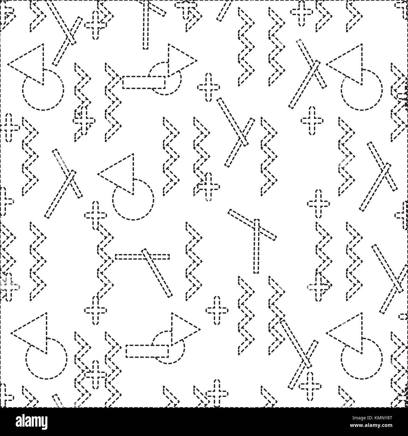 dotted shape geometric figures abstract memphis style background - Stock Image