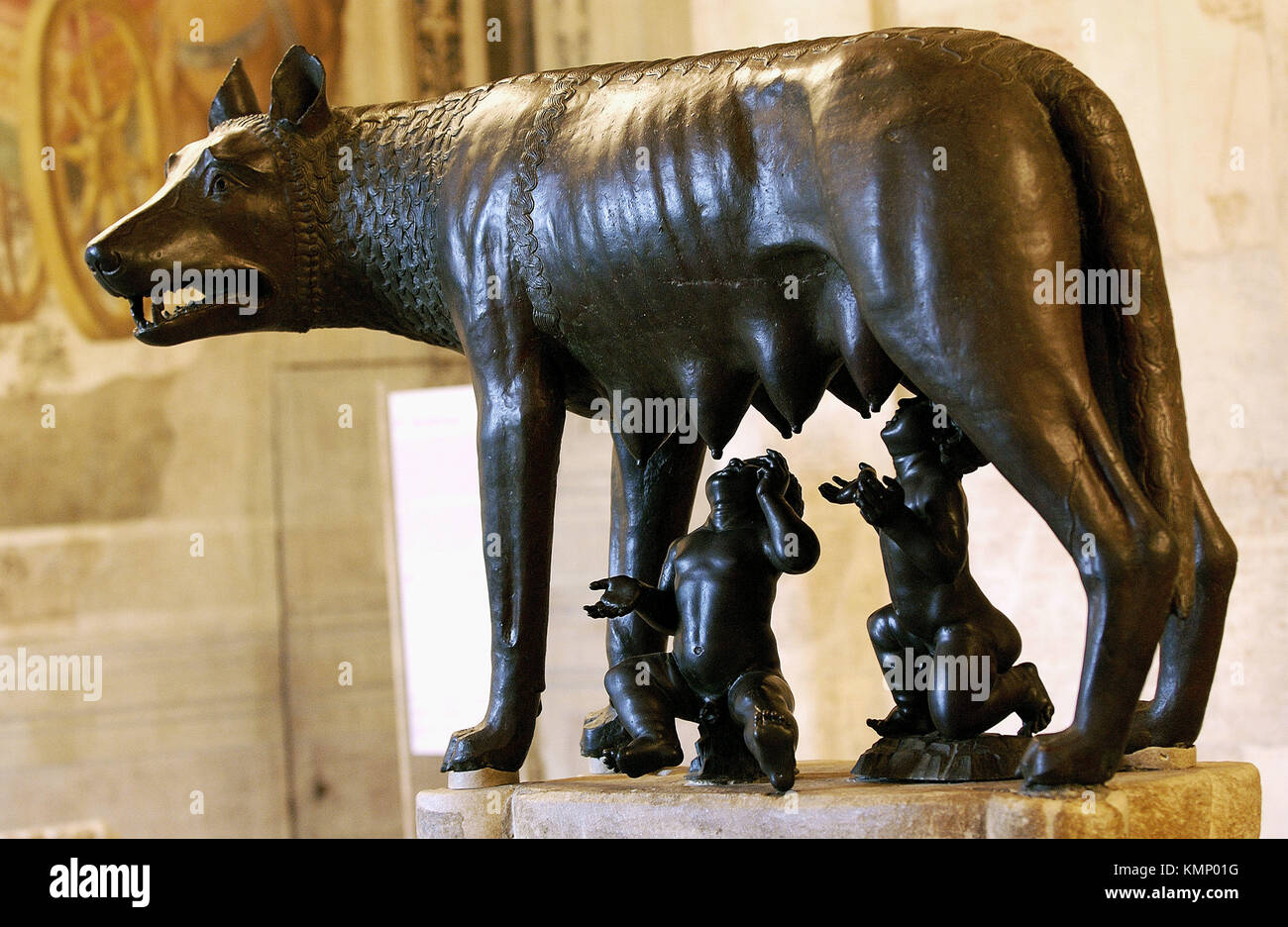 Capitoline Wolf in the Hall of the She-wolf, Palazzo dei Conservatori, Capitoline Museum. Rome. Italy Stock Photo