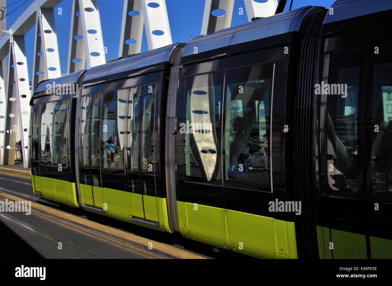 Modern bridge and transport in the city of Brest, France - Stock Image