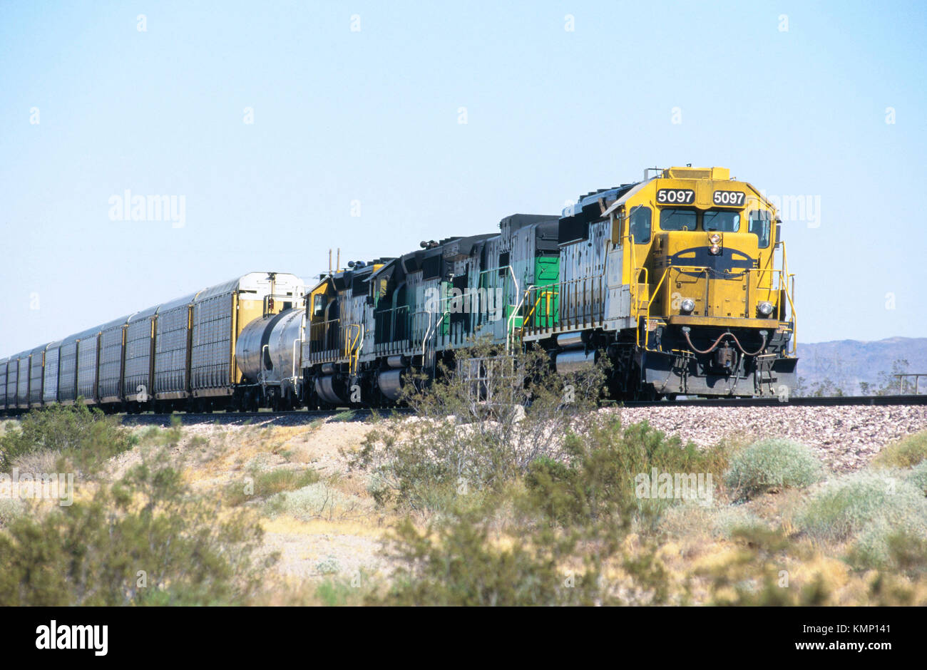 Auto-carrying express freight train, USA - Stock Image