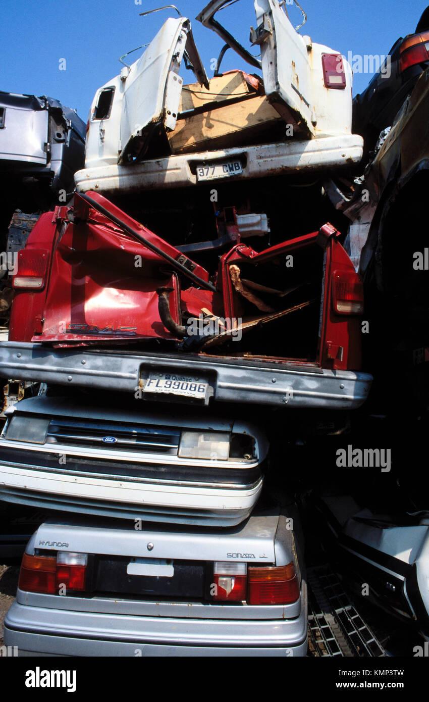 Cars at a Junkyard - Stock Image