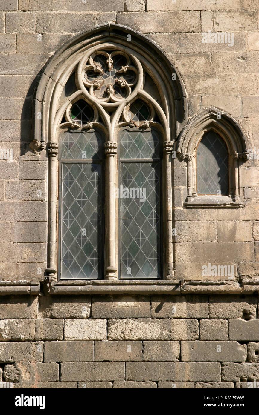 Gothic window of the Capella Reial de Santa Agata. Plaça del Rei. Barcelona. Catalonia. Spain - Stock Image