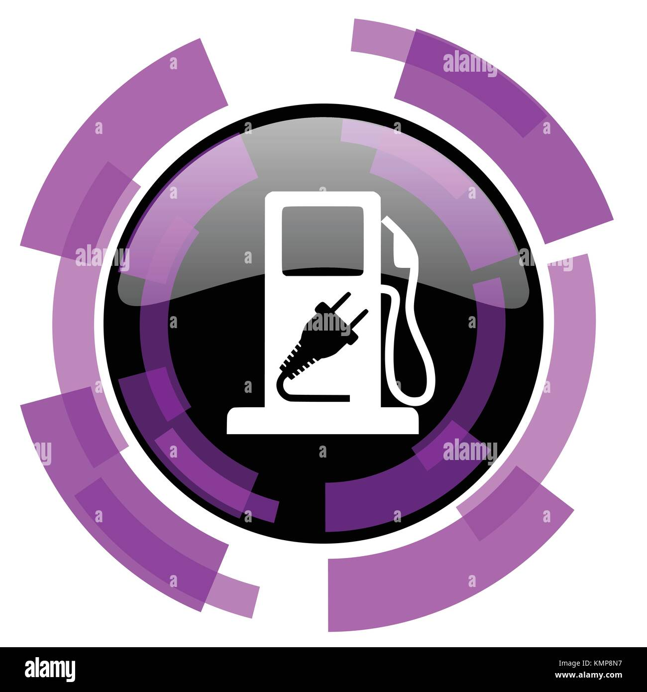 Fuel pink violet modern design vector web and smartphone icon. Round button in eps 10 isolated on white background. Stock Vector