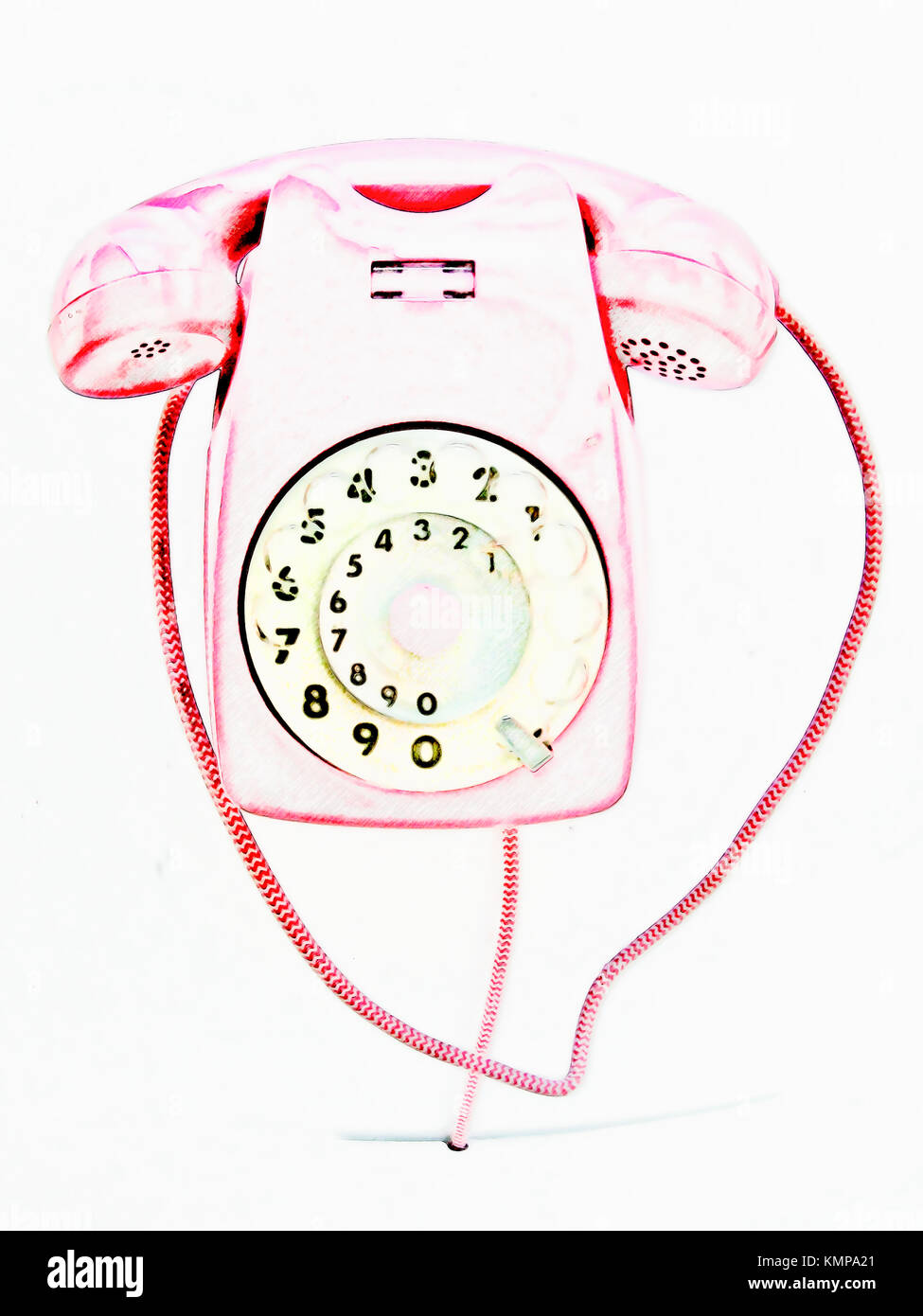 Drawing of a pink vintage telephone. - Stock Image