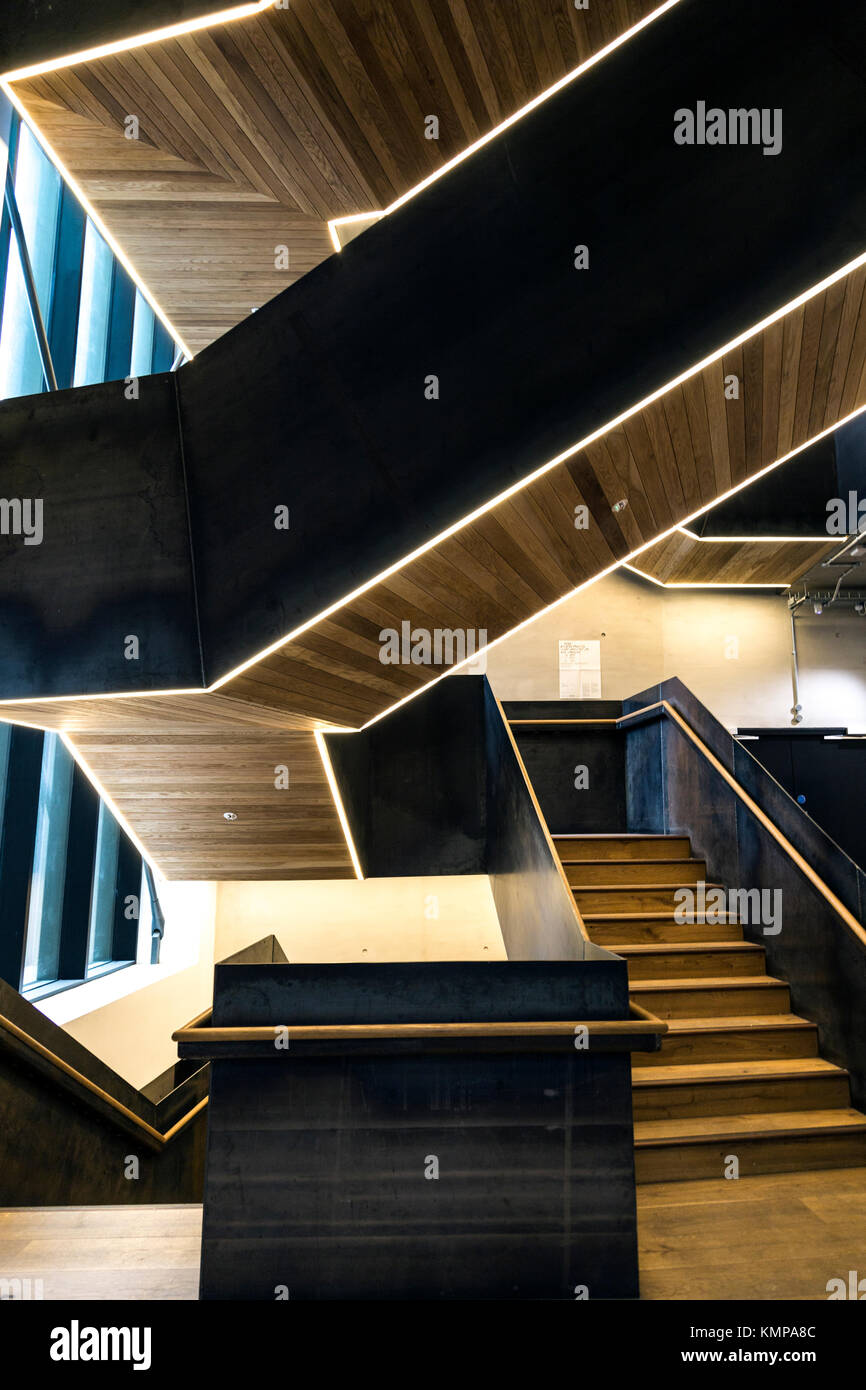 Wood and metal modern staircase (Bartlett School of Architecture, London, UK) - Stock Image