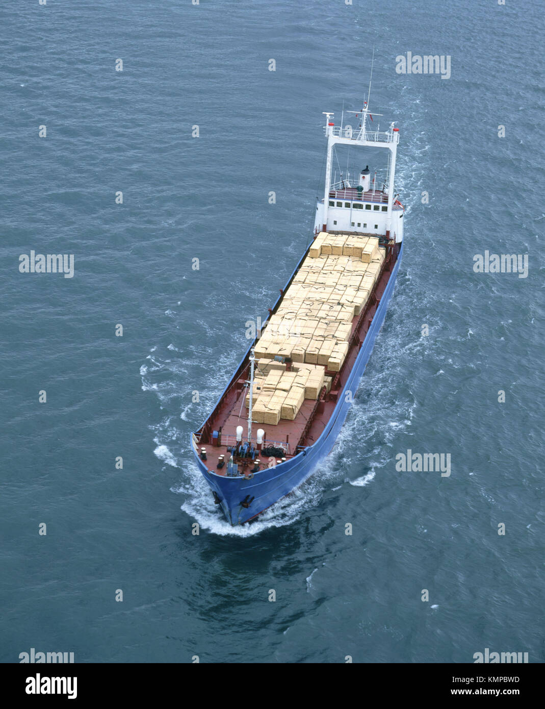 General cargo ship carrying cargo of timber. Firth of Forth. Scotland - Stock Image