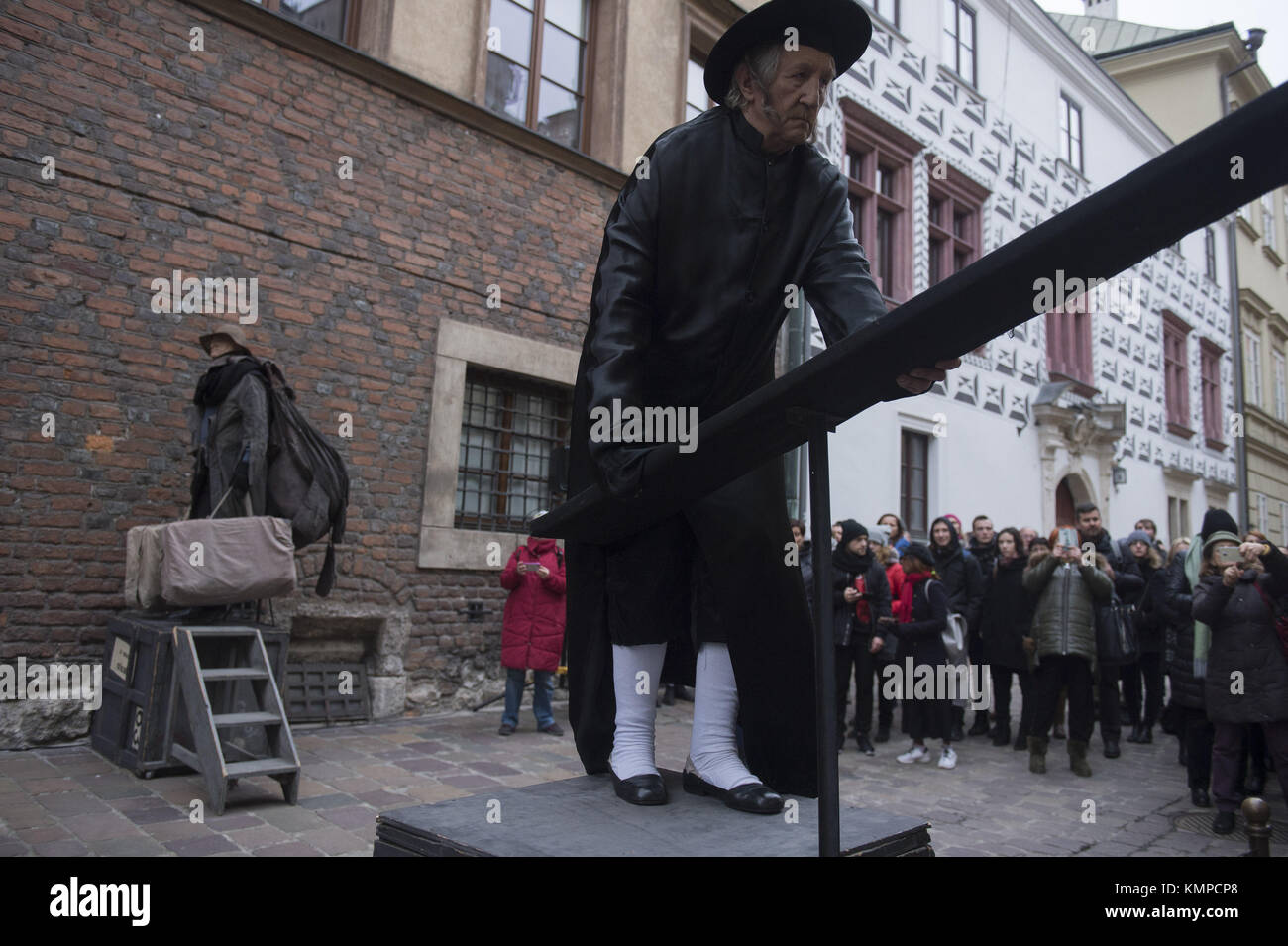 Krakow, Poland. 8th Dec, 2017. Theater artists perform the \'Living ...