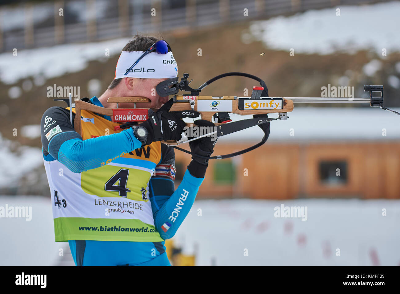 Lenzerheide, Switzerland. 8th Dec, 2017. DUMONT Clement (FRA) during the IBU Biathlon Cup Mixed Relay in Lenzerheide. - Stock Image