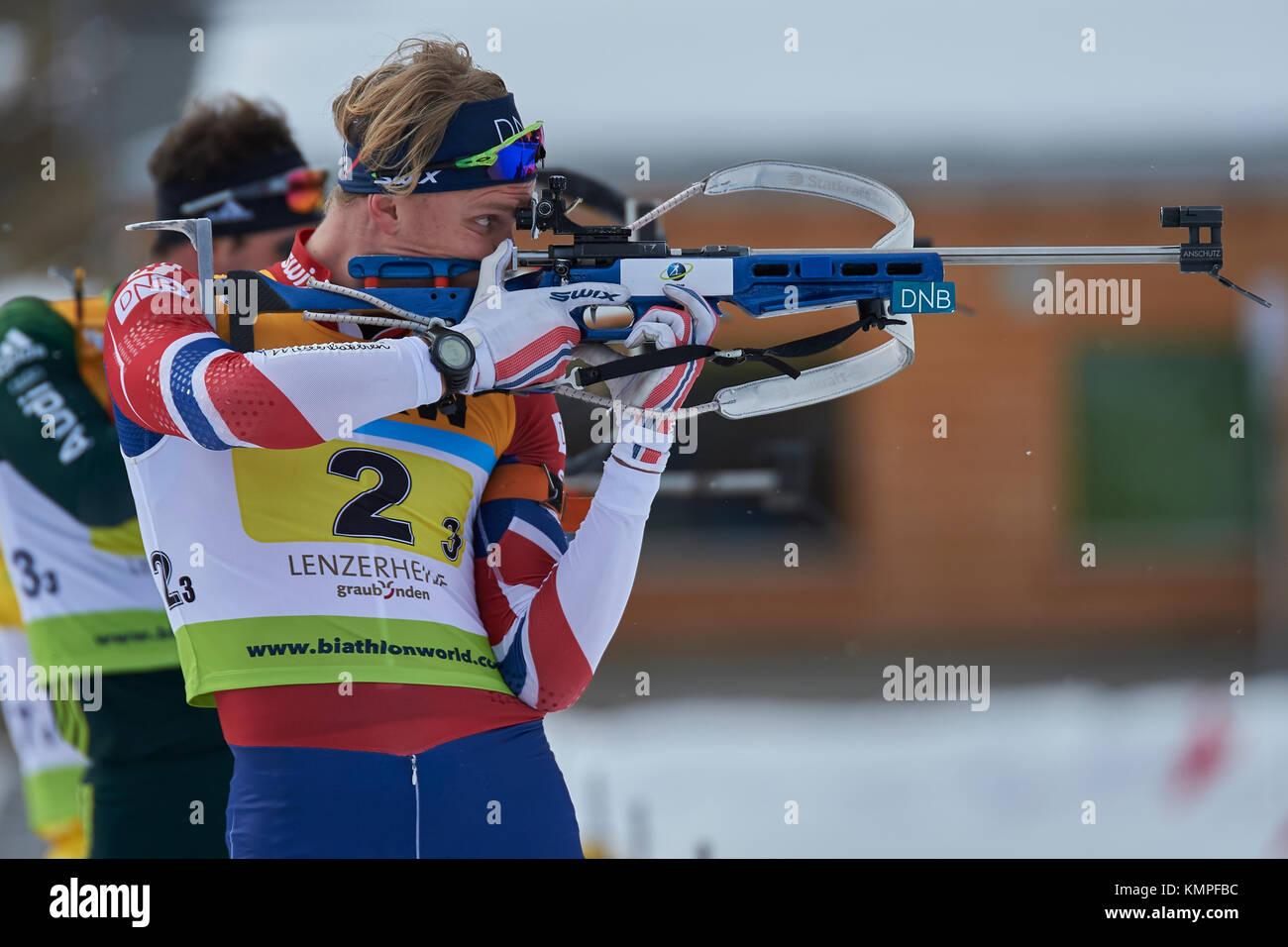 Lenzerheide, Switzerland. 8th Dec, 2017. ROERVIK Fredrik (NOR) during the IBU Biathlon Cup Mixed Relay in Lenzerheide. - Stock Image