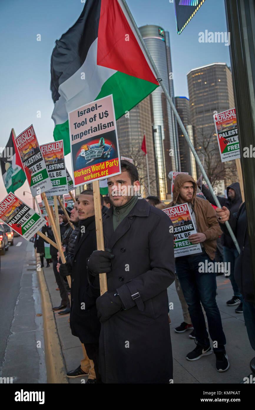 Detroit, Michigan, USA. 8 December 2017. Arab-Americans rally against President Trump's declaration, recognizing - Stock Image