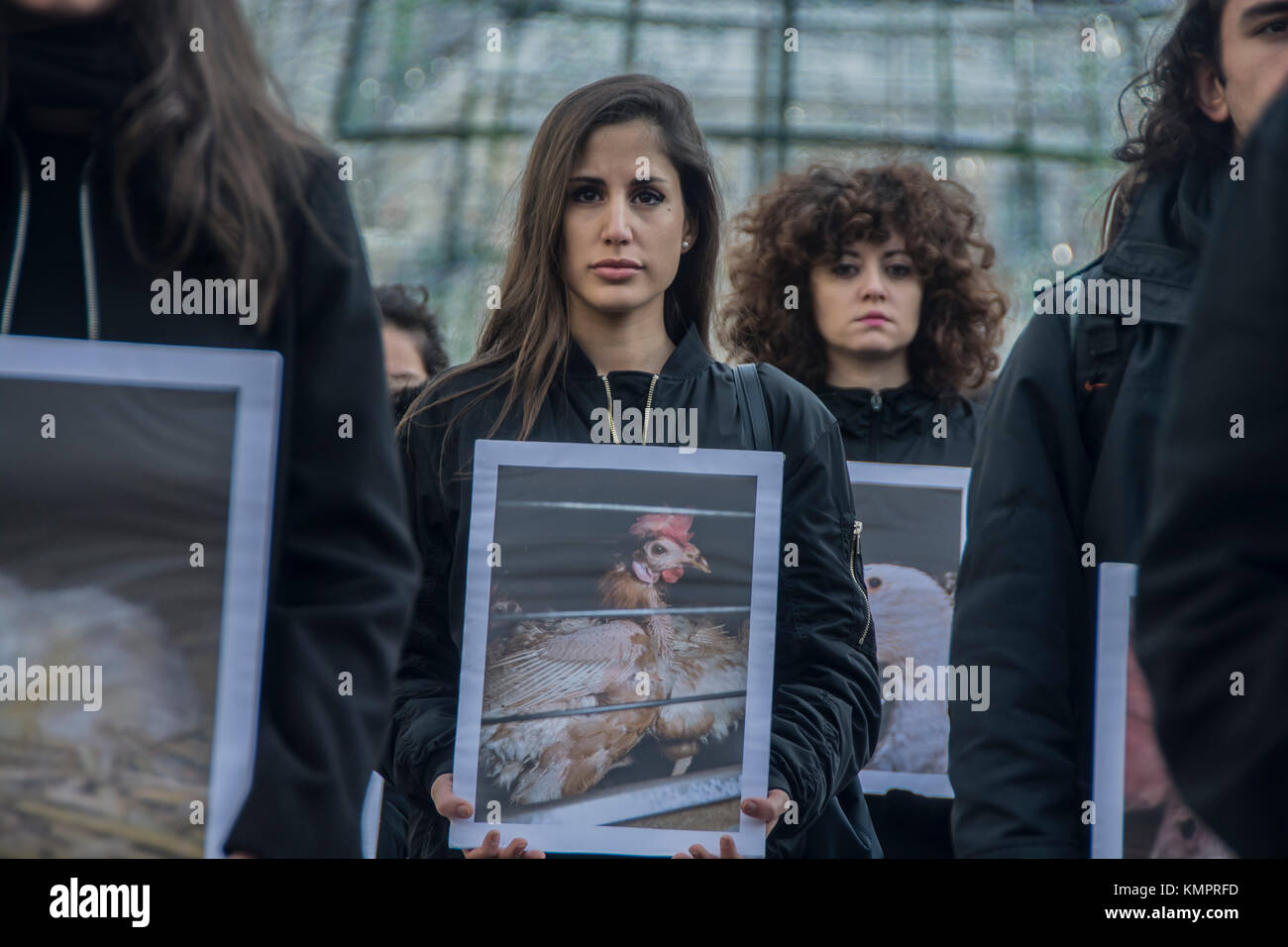 Madrid, Spain. 09th Dec, 2017. animal right demonstration in the square sol in the center of Madrid Credit: Alberto - Stock Image