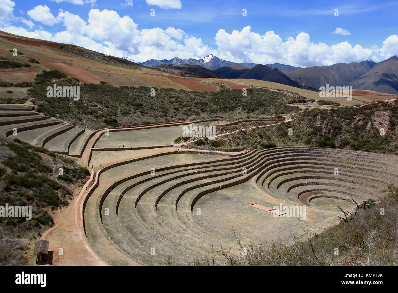 Maras ( Peru) November, 24 th 2015;  Archaeological site of Moray. Moray was an agricultural laboratory, consisting - Stock Image