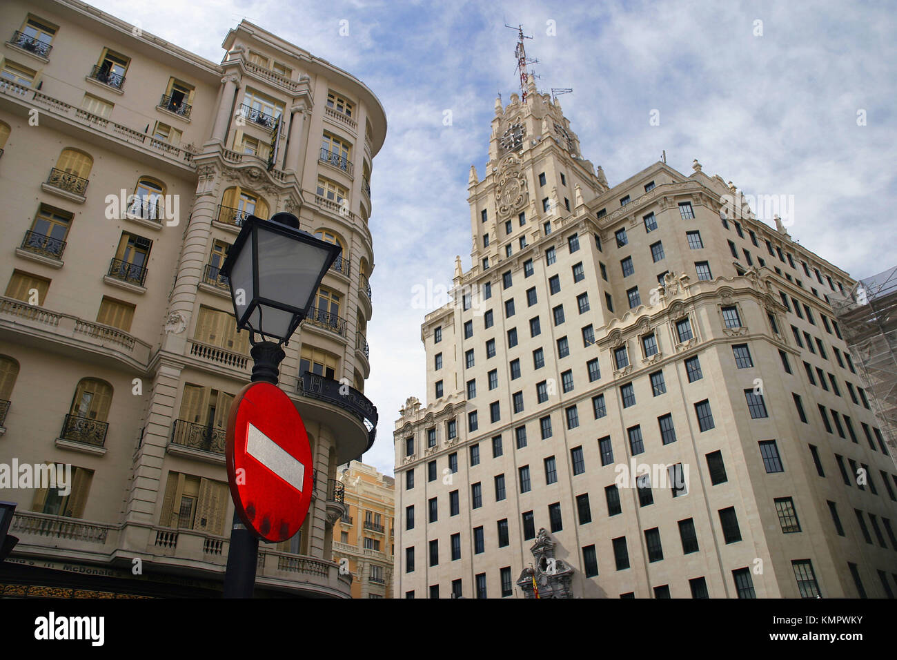 Telefonica phone company building, Gran Via. Madrid. Spain - Stock Image