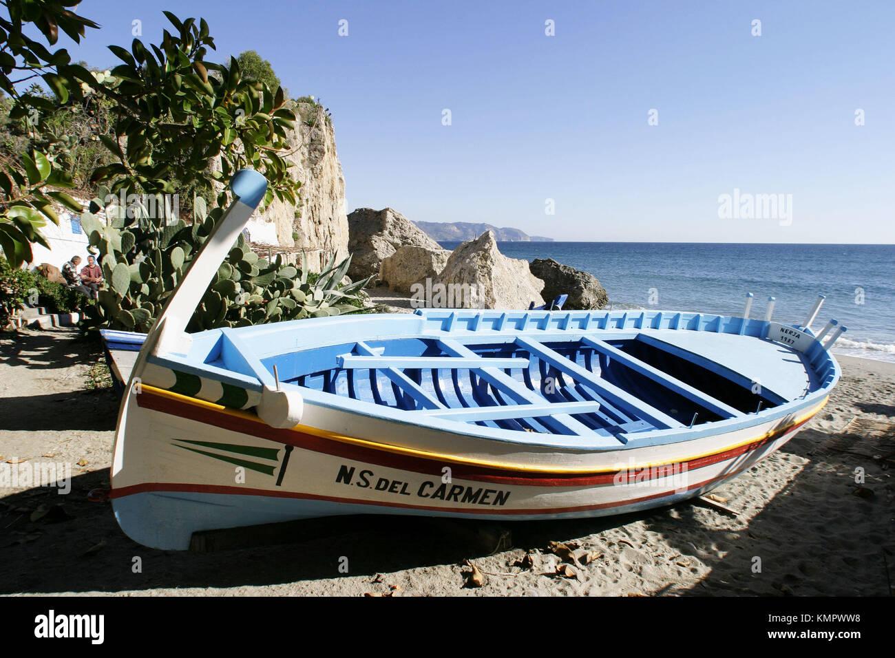 Fishing smack on Calahonda beach. Nerja. Costa del Sol, Málaga province. Spain - Stock Image