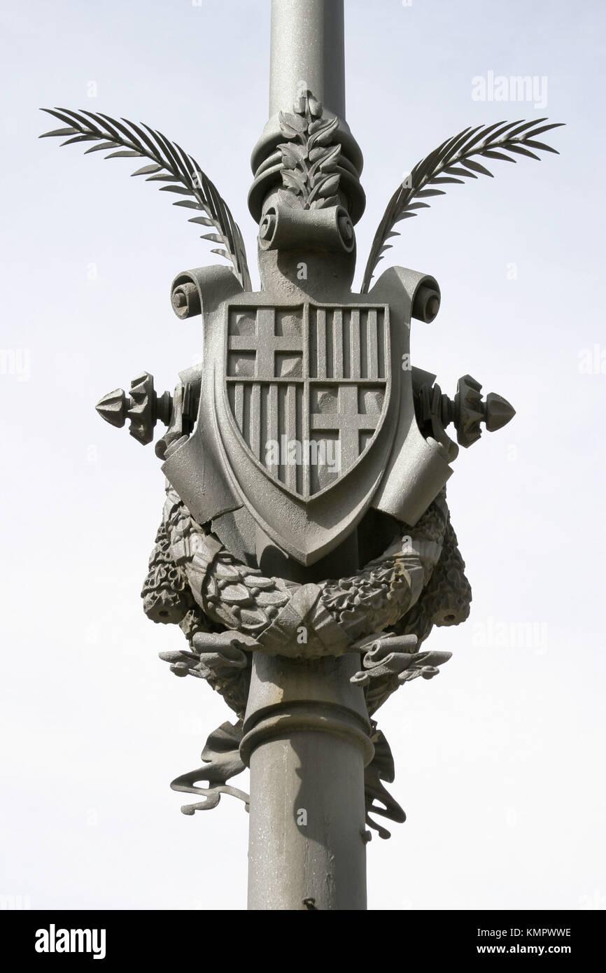 Coat of arms. Passeig de Lluís Companys. Barcelona. Catalonia. Spain - Stock Image