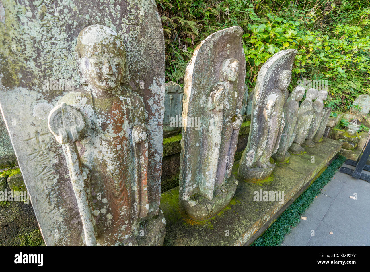 Ancient stone-carved Jizo statues in Haze-dera temple or Hase-kannon temple. Located in Kamakura, Kanagawa Prefecture, - Stock Image
