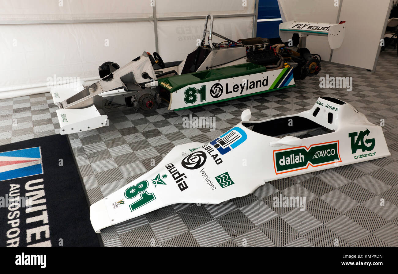 Side view of the 1980 F1 World Championship Winning, Williams FW07 Formula One Car, driven by Alan Jones, on display at the 2017 Silverstone Classic Stock Photo