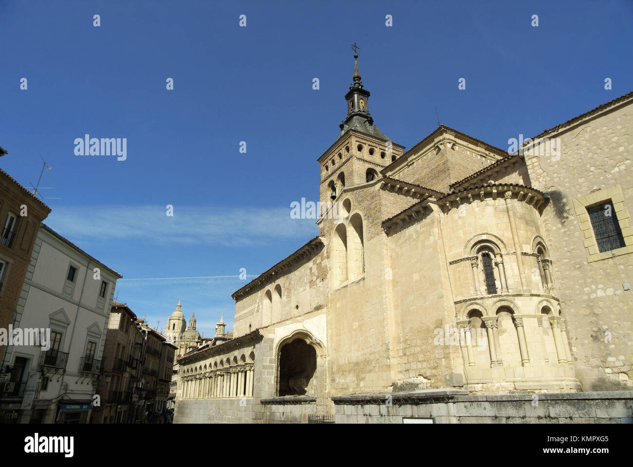 Romanesque Church of San Martín (10th - 12th cent.) with mudejar tower. Segovia (city added to Unesco´s World Heritage Stock Photo