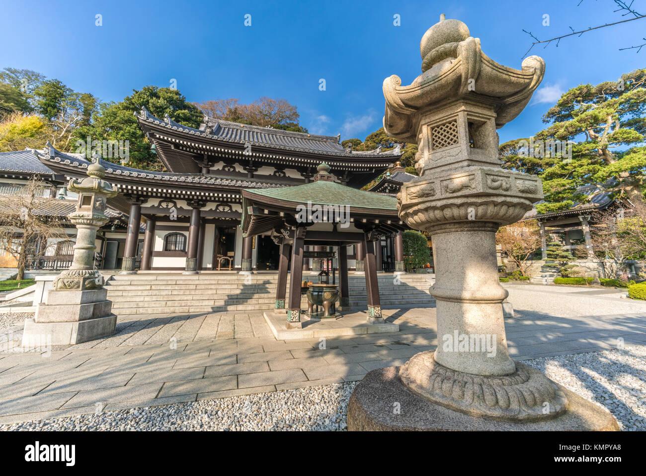 Haze-dera temple or Hase-kannon temple. Kannon-Do hall. Incense Burner (Jokoro) Ishidoro (Stone lanterns) Located - Stock Image