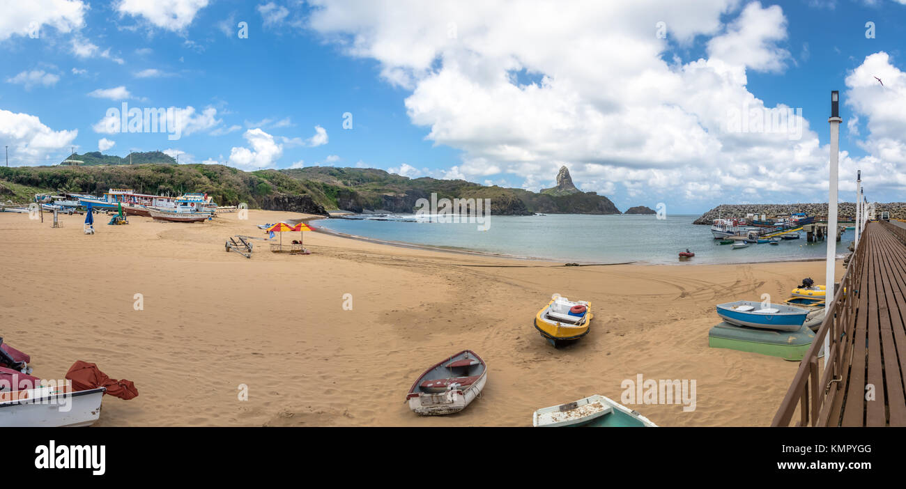 Panoramic view of Praia do Porto Beach and Santo Antonio Port with Morro do Pico on background - Fernando de Noronha, - Stock Image