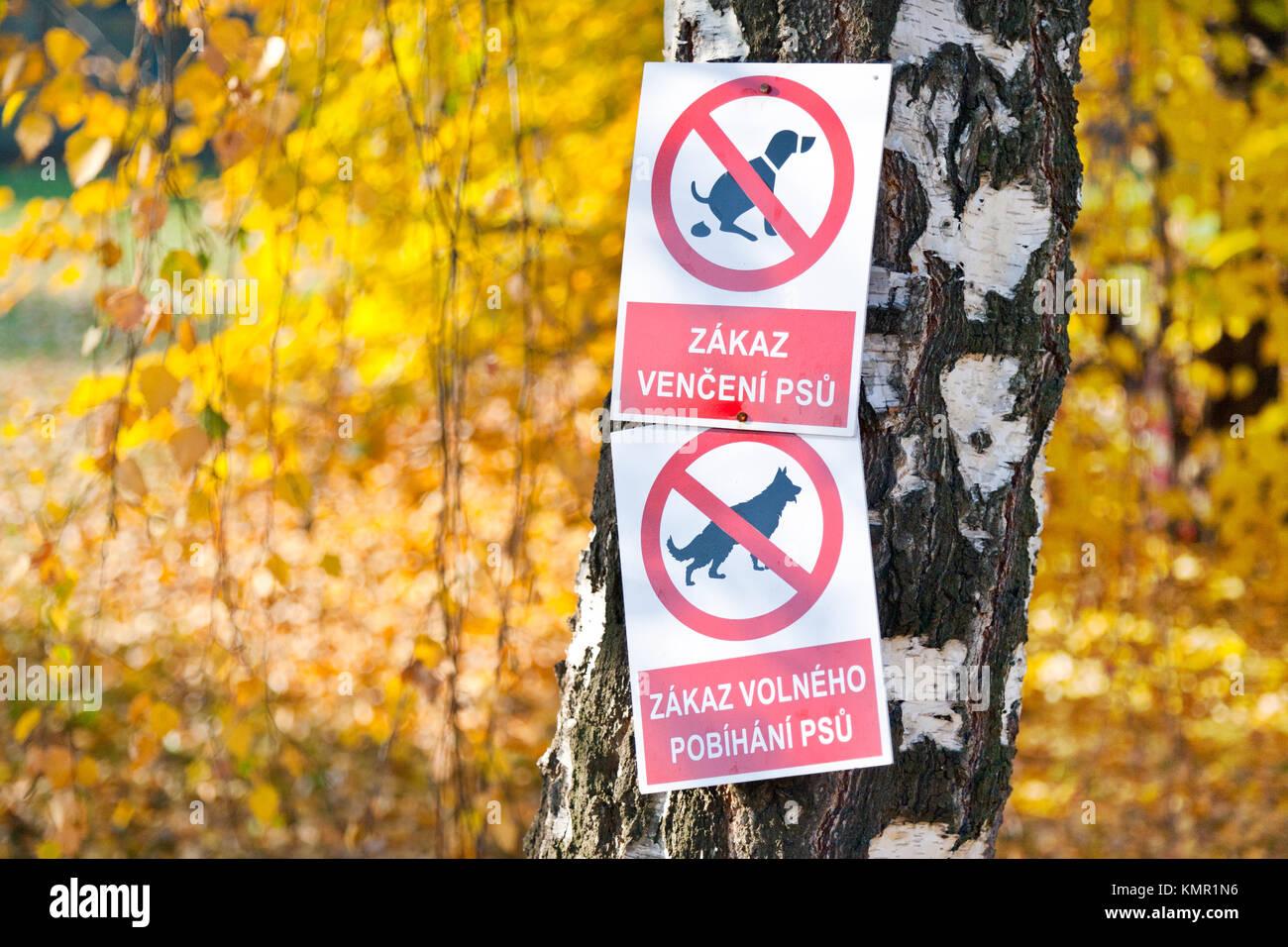 zákazové cedule - psi v parku, Česká republika - Stock Image