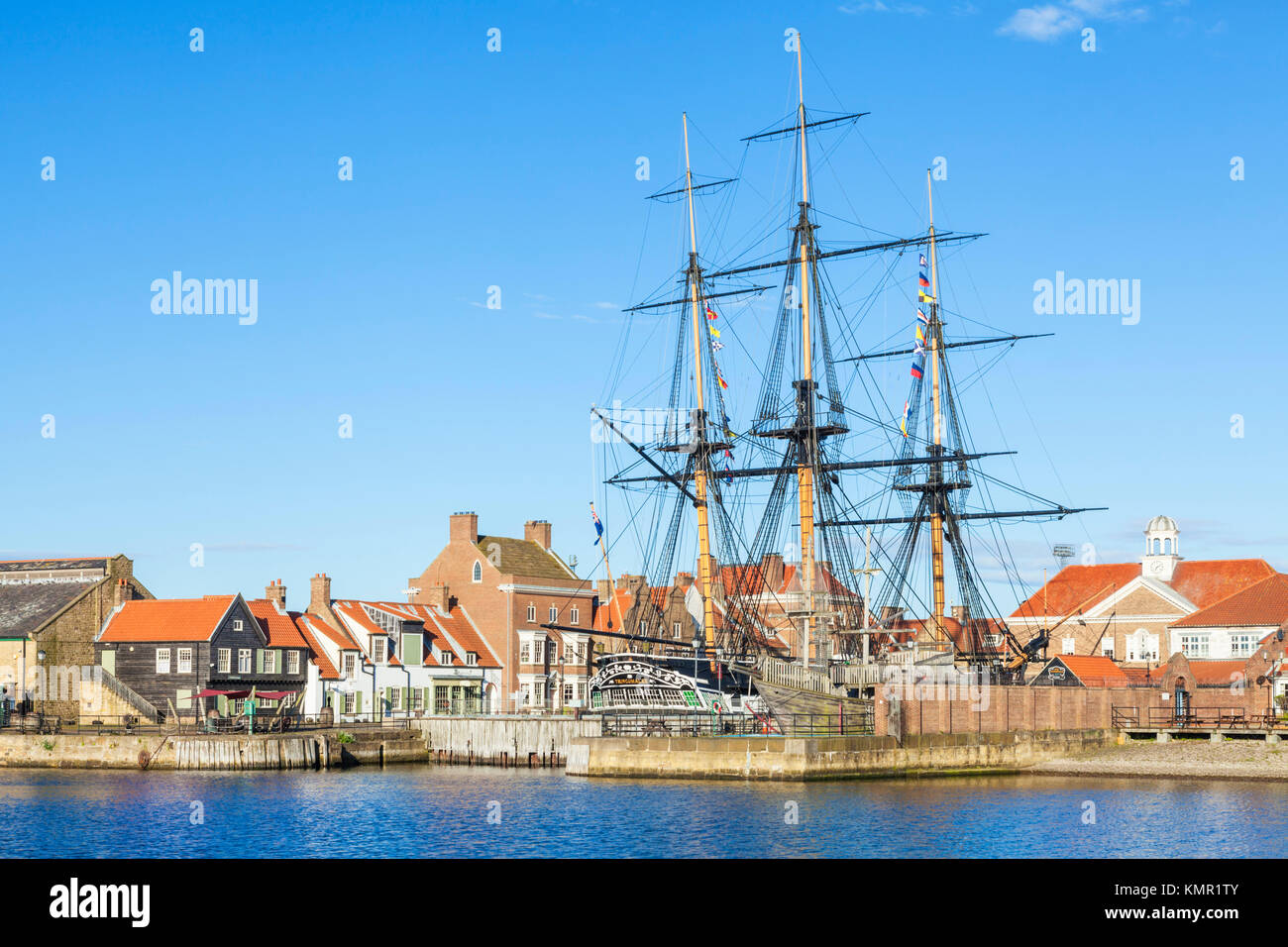 england hartlepool england hartlepool marina H M S Trincomalee a napoleonic war navy frigate restored as a living - Stock Image