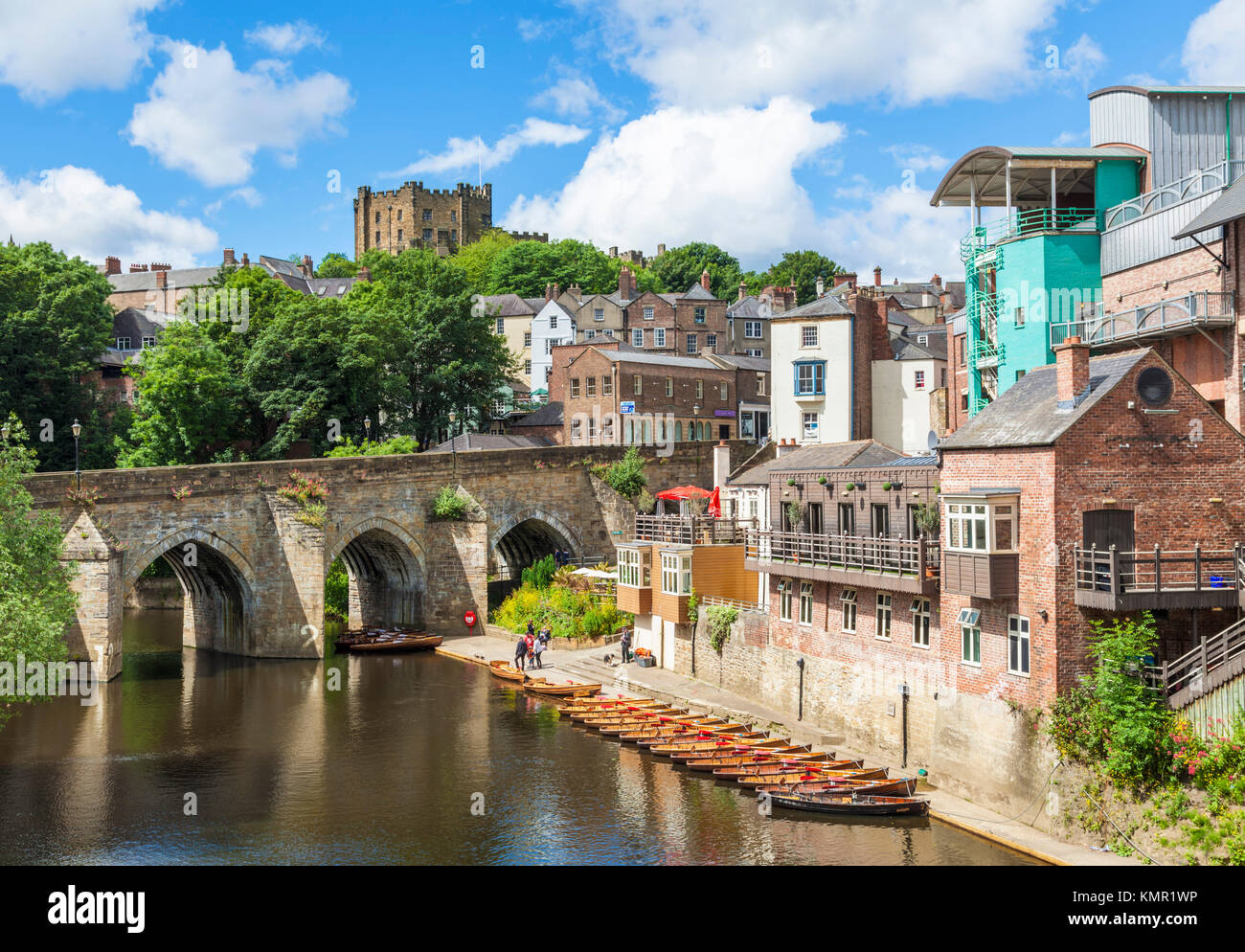 england durham england elvet Bridge arch medieval bridge over river wear with rowing boats for hire Durham city - Stock Image