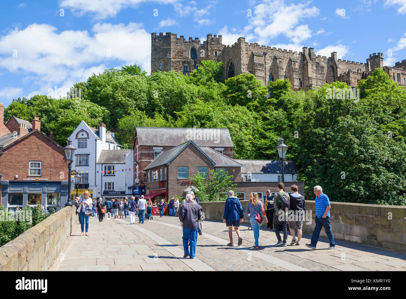 durham england durham england pedestrians on silver street over Framwellgate Bridge  over river wear Durham city - Stock Image