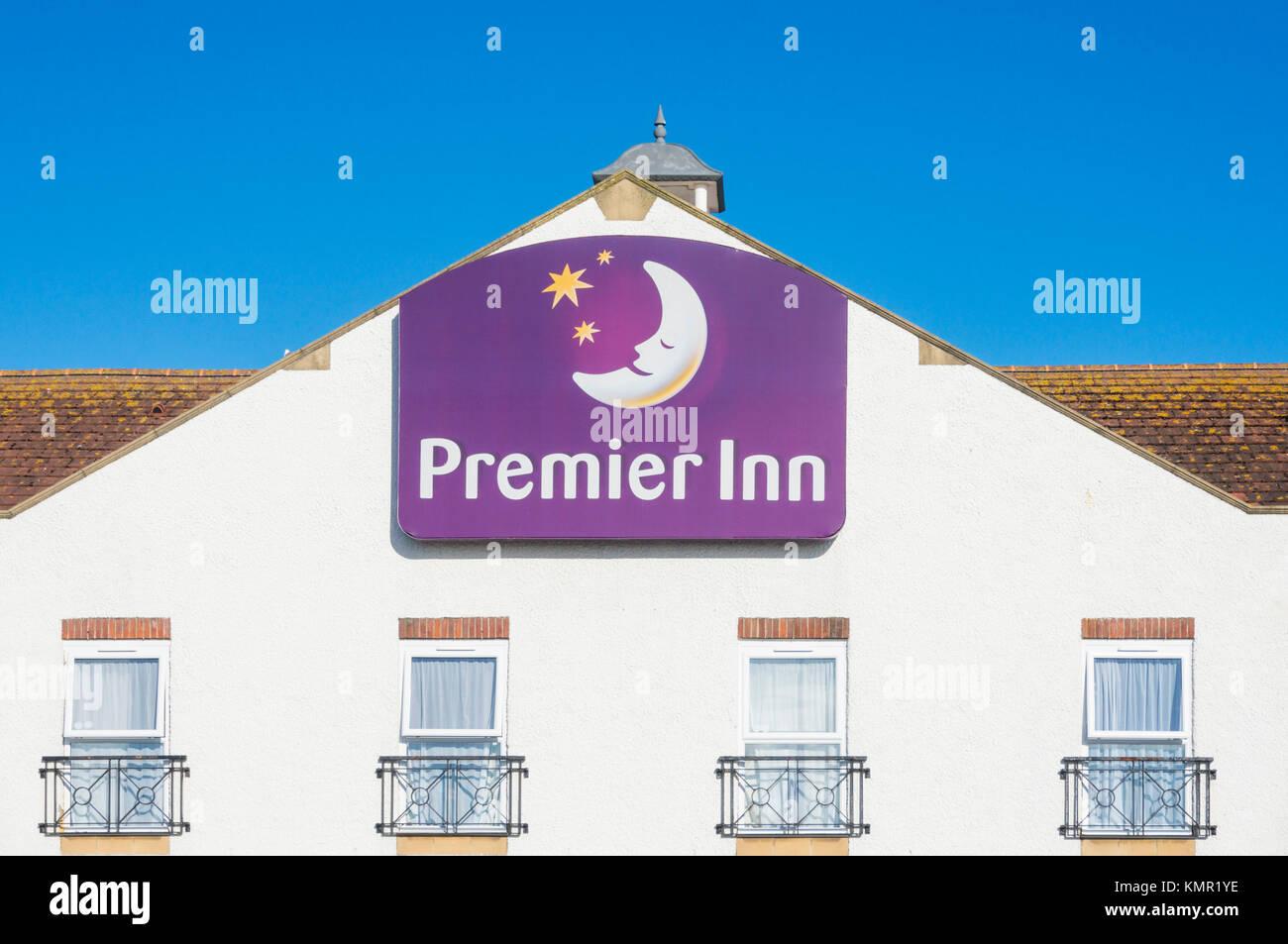 England Premier inn logo premier inn sign on front of hotel building premier inn facade premier inn hotel chain - Stock Image