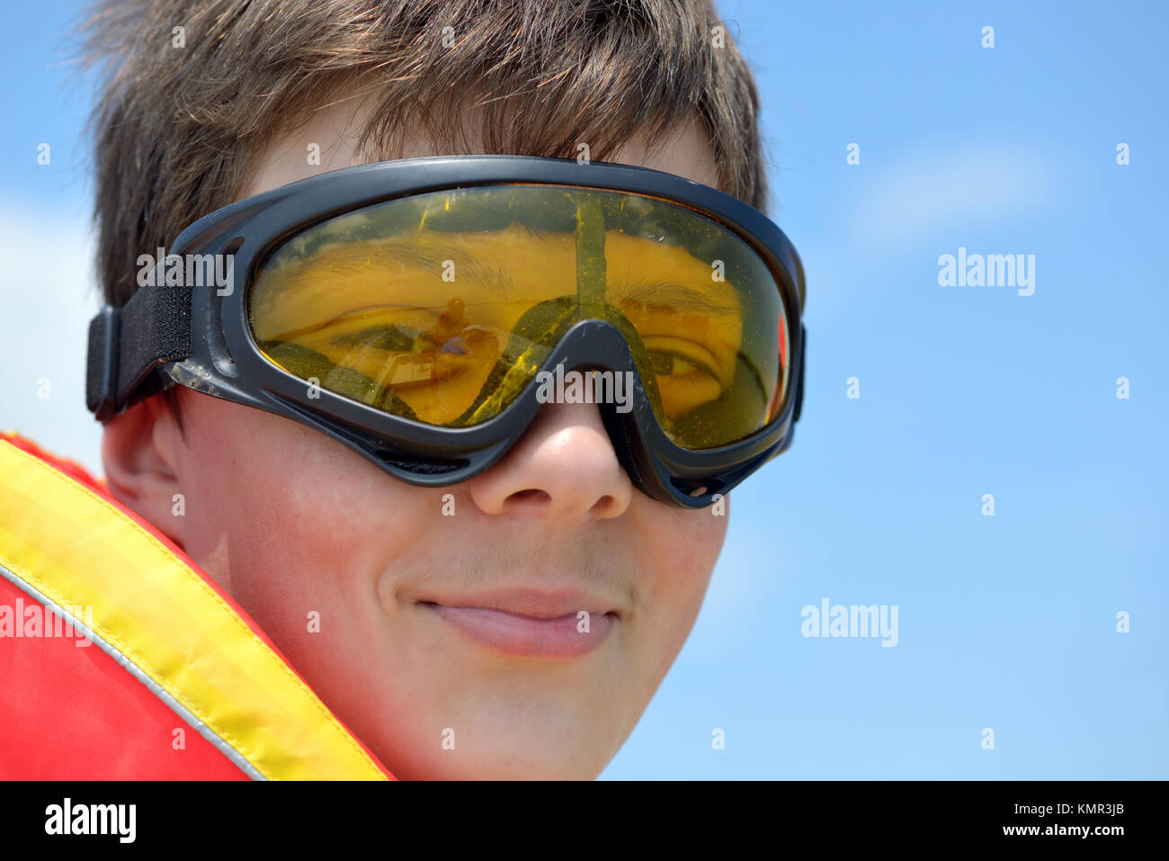 teen boy with  goggles in nature - Stock Image