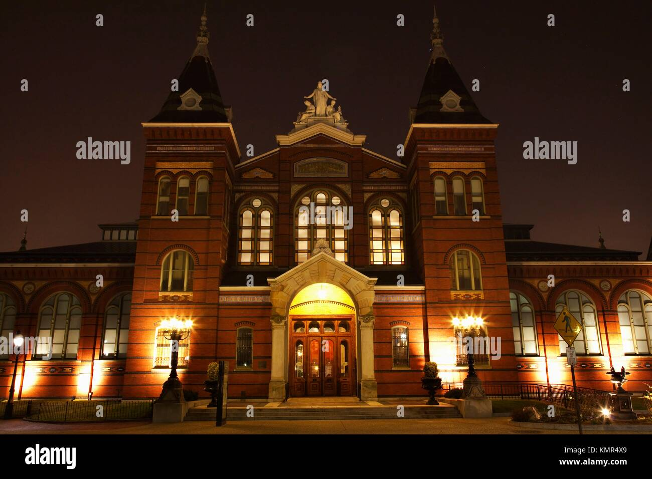 Arts and Industries Building Smithsonian Museum Institution Night with Stars Washington DC  The original national - Stock Image