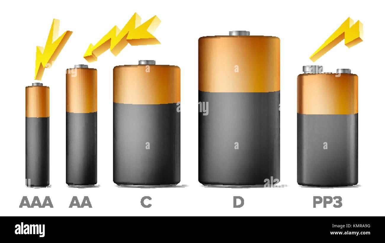 Alkaline Batteries Mock Up Set Vector. Different Types AAA, AA, C, D, PP3, 9 Volt. Standard Modern Realistic Battery. - Stock Vector