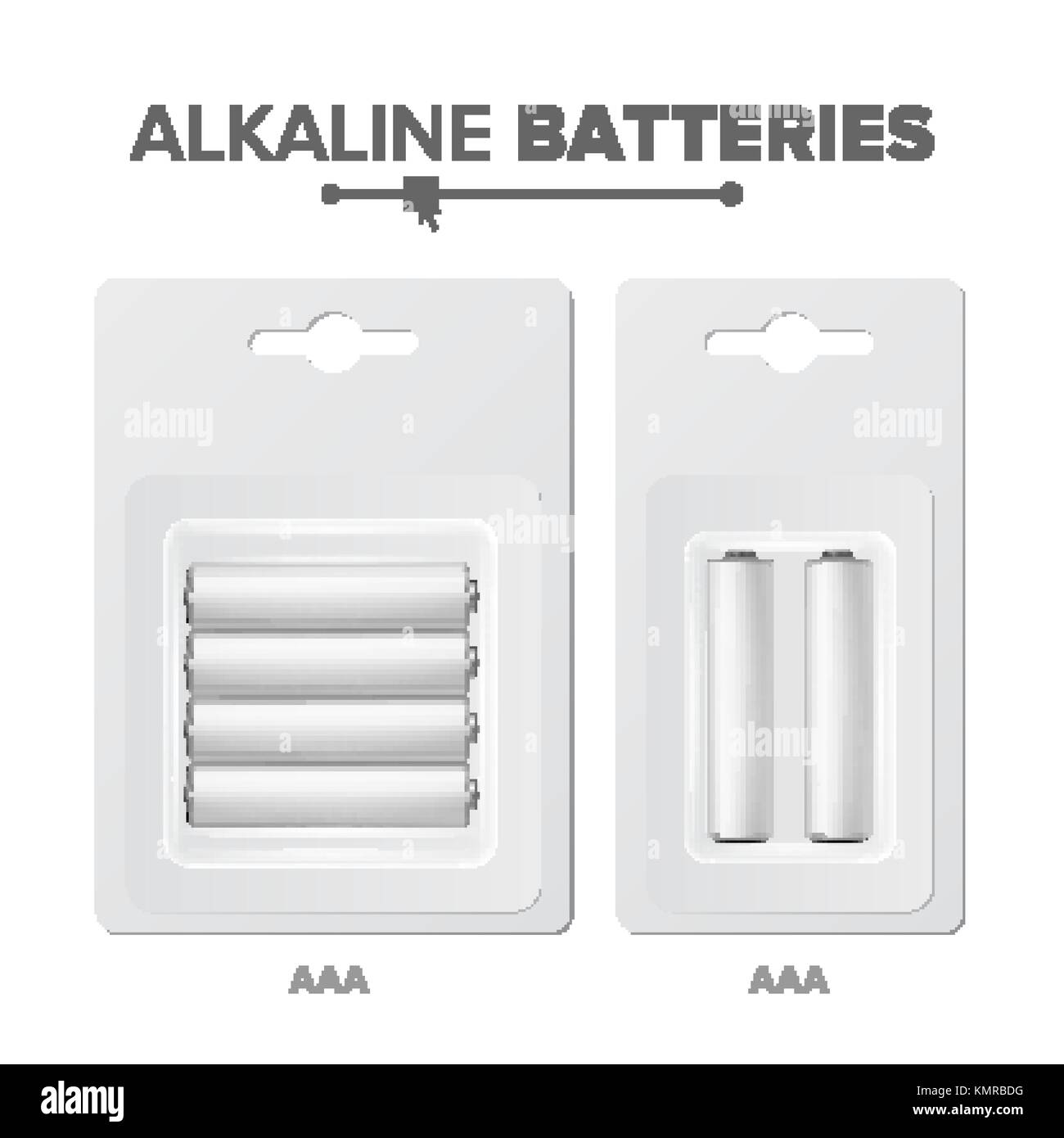 AAA Batteries Packed Vector. Alkaline Battery In Blister. Realistic Glossy Battery Accumulator. Mock Up Good For - Stock Vector