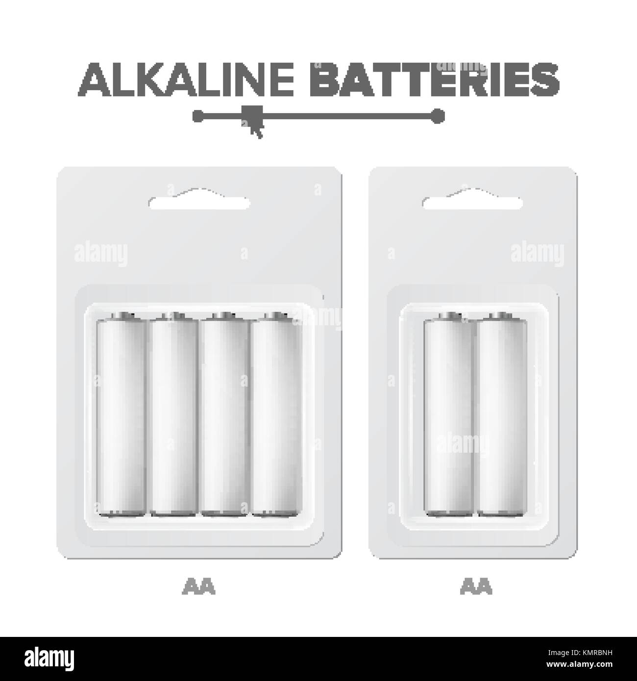 AA Batteries Packed Vector. Alkaline Battery In Blister. Realistic Glossy Battery Accumulator. Mock Up Good For - Stock Vector
