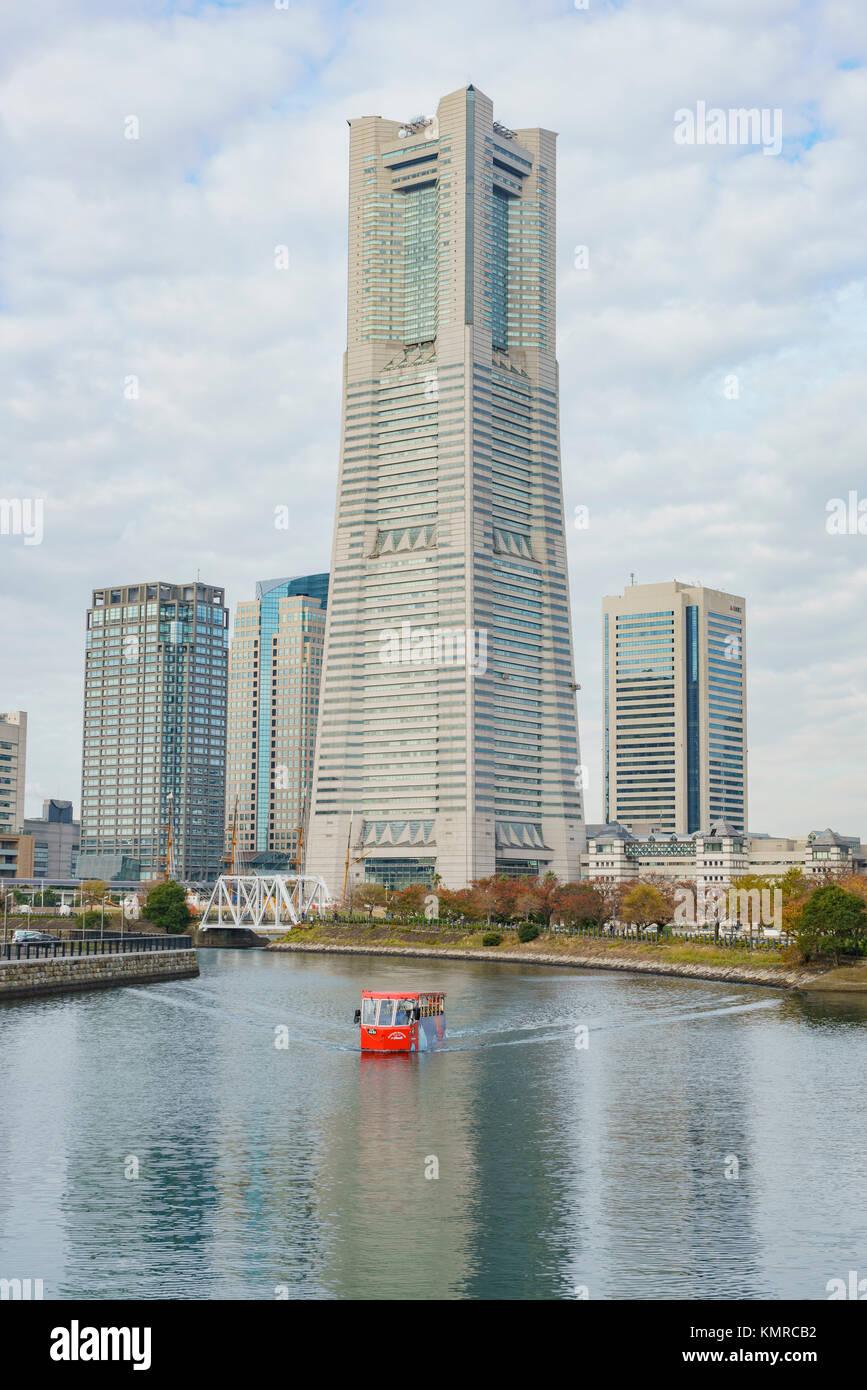 Yokohama, NOV 21: Skyling and red ship on NOV 21, 2017 at Yokohama, Japan - Stock Image