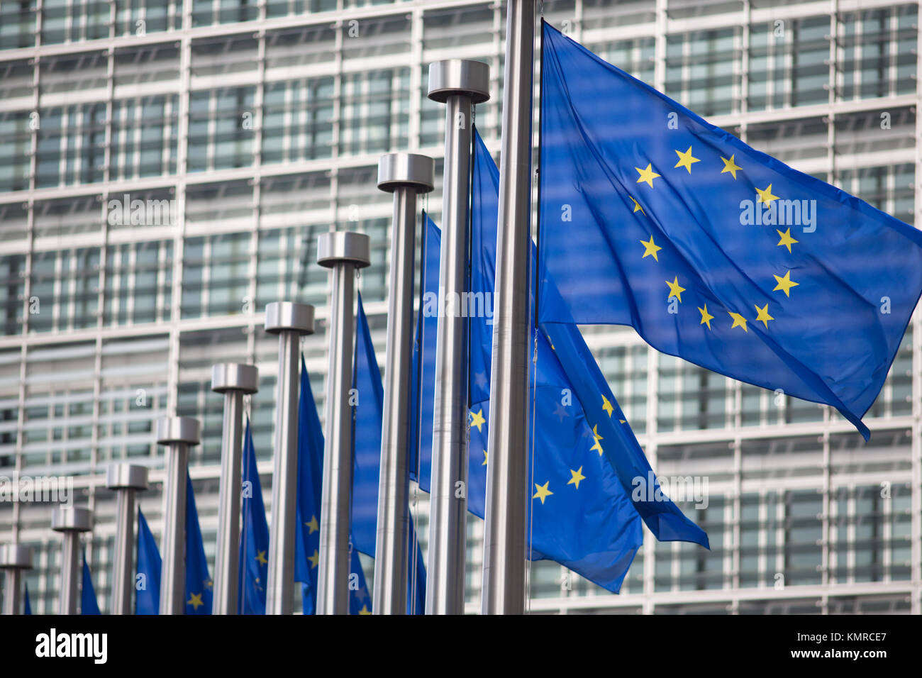 European Commission EU flags in Brussels - Stock Image